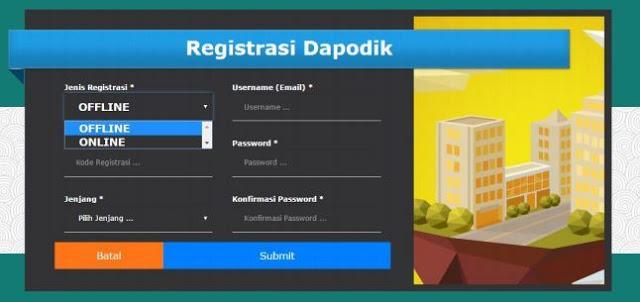 gambar cara registrasi dapodik versi baru 2016