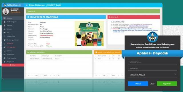 gambar tampilan depan aplikasi Dapodik versi terbaru 2016